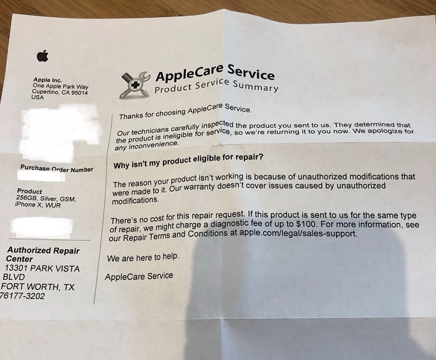 Applecare rejection letter